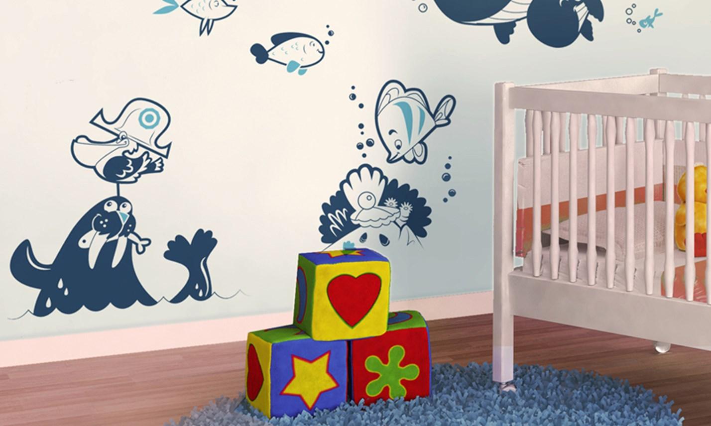 Stickers murali bambini cameretta l 39 oceano blu leostickers - Decorazioni murali camerette bambini ...